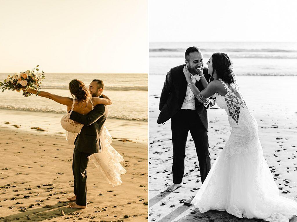 Fun and candid wedding photos on the beach, Southern California wedding photographer