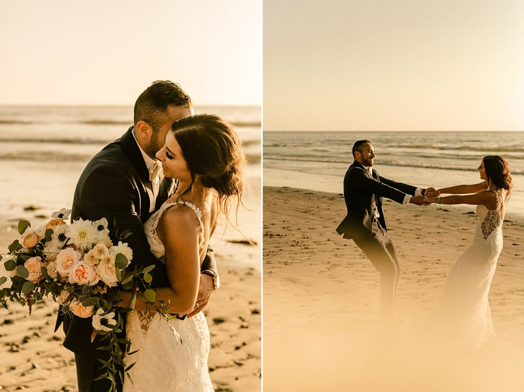 Bride and groom sunset portraits, romantic and candid, Cape Rey Carlsbad Wedding Photographer