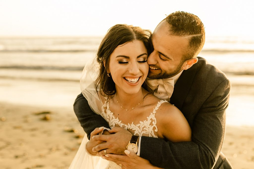 Romantic, beautiful and warm, the beach at sunset, Cape Rey Carlsbad Wedding Photographer
