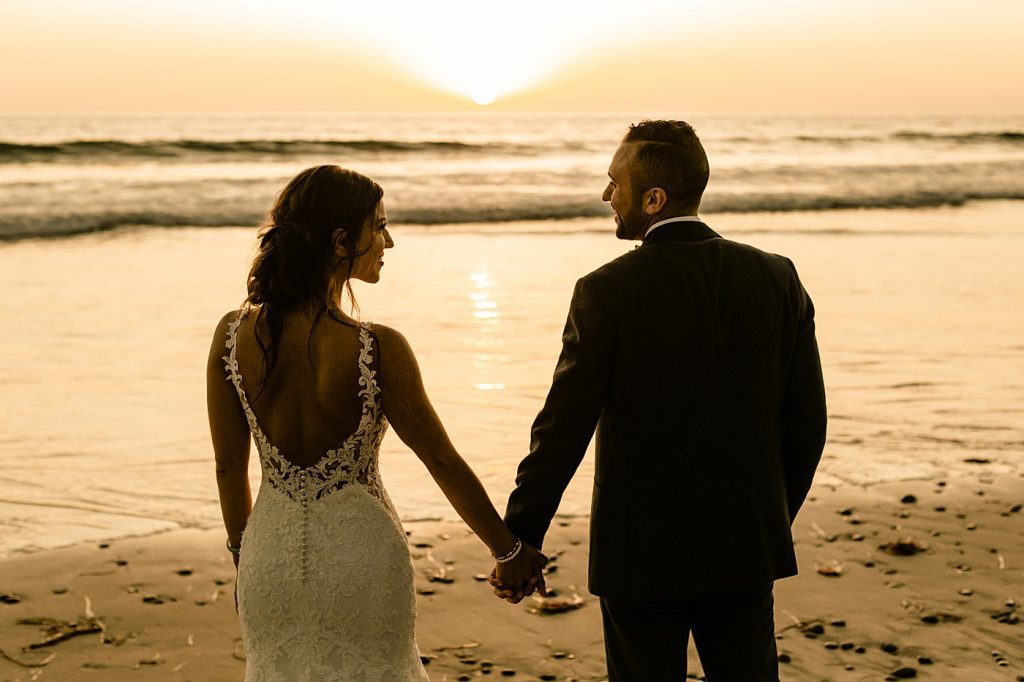 Sunset to dusk, documentary style wedding photographer for bride and groom in southern California