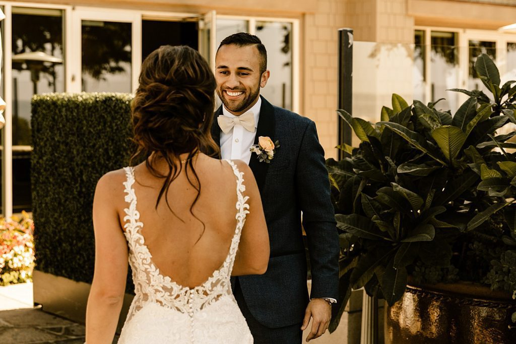 Sweet first look bride and groom San Diego photographer