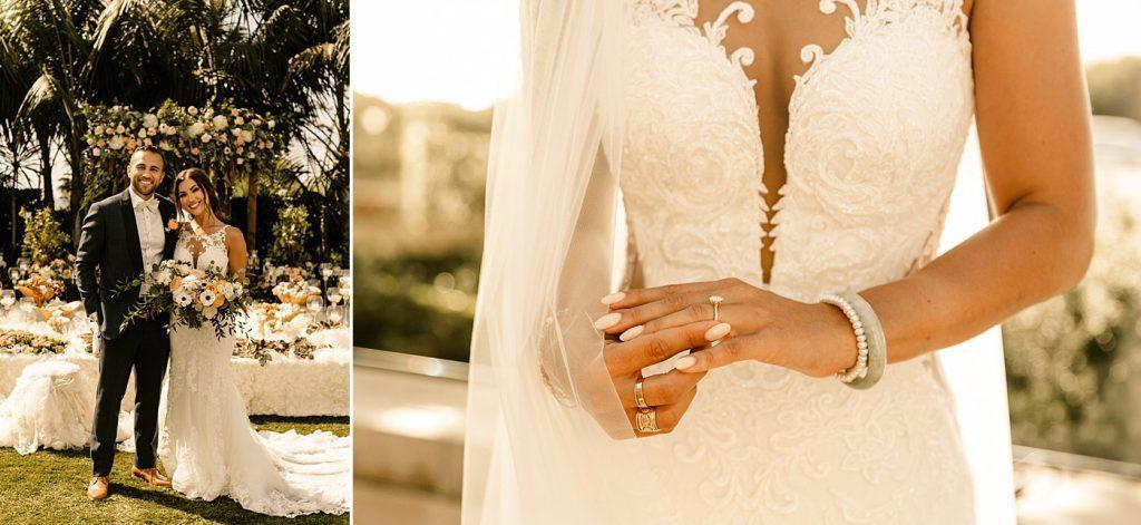 Bride and groom portraits, bridal details, Cape Rey Carlsbad Wedding Photographer