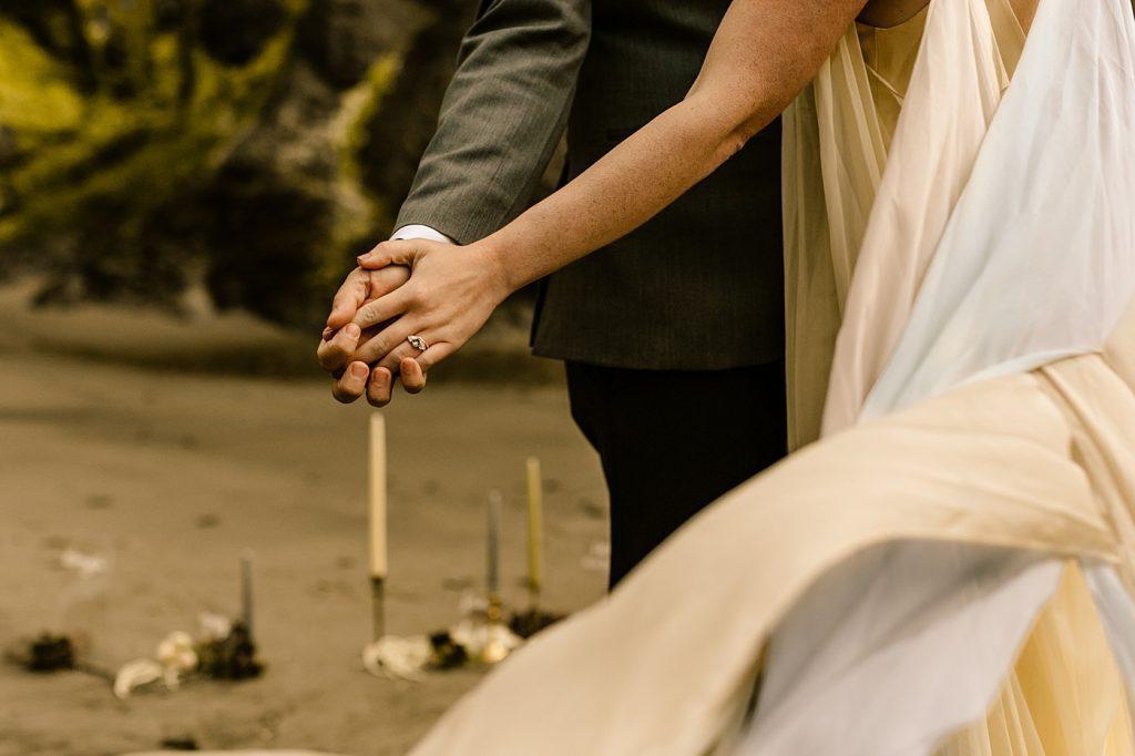 PNW Beach Elopement Photographer Unique wedding details ring photo