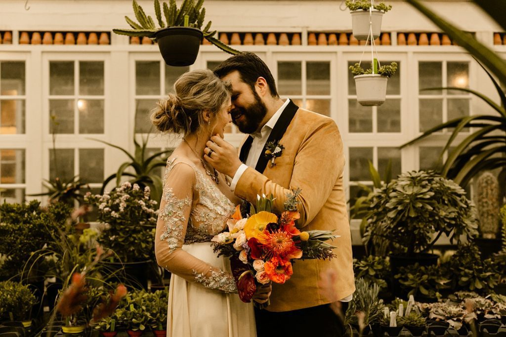 Greenhouse wedding photographer in Seattle Christiansons Nursery wedding venue