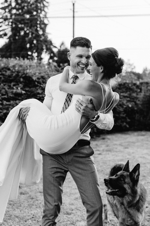 candid wedding portraits with dog portland elopement photographer