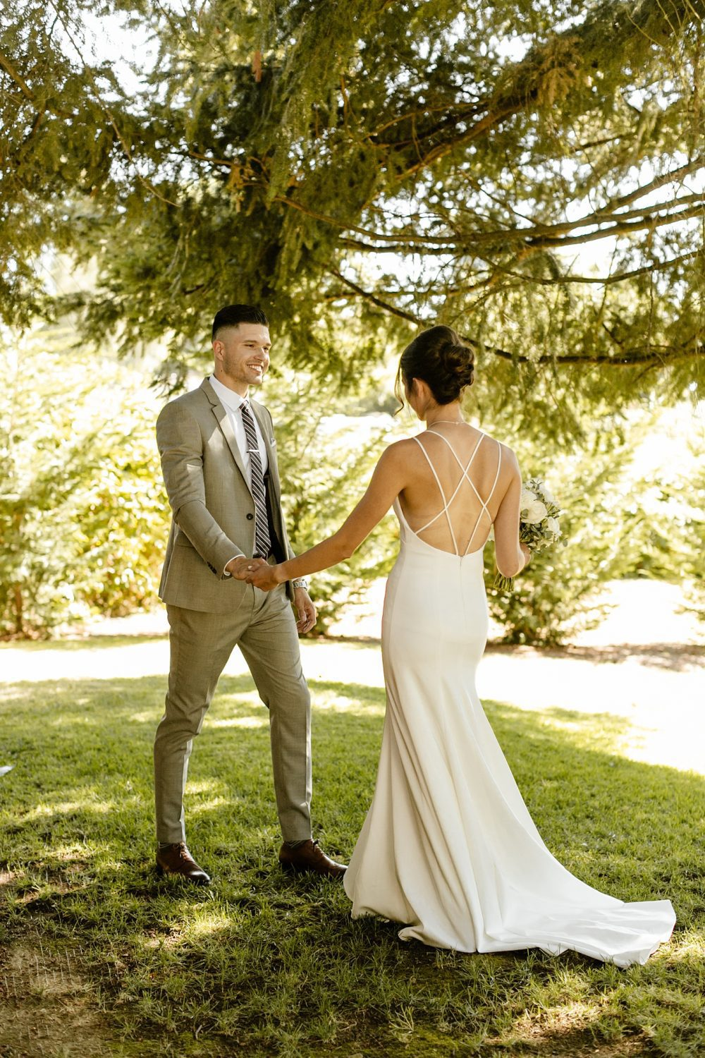 5 Things to Remember When Your Wedding Doesn't Go as Planned portland wedding photographer first look groom grey suit
