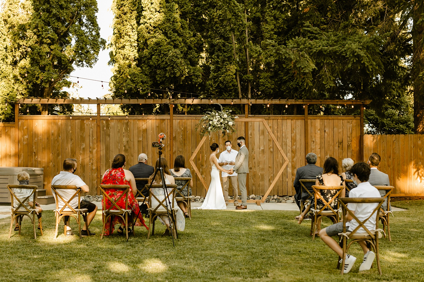 5 Things to Remember When Your Wedding Doesn't Go as Planned planning a wedding in the pandemic wearing masks backyard ceremony