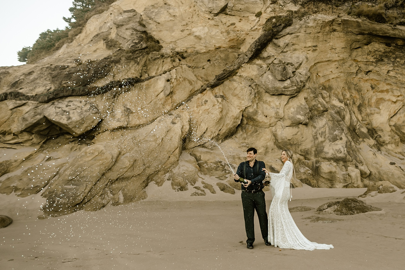 popping champagne elopement tradition