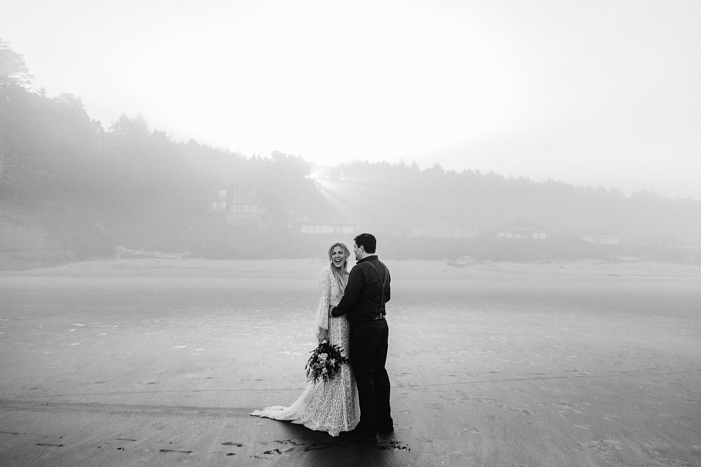 sunrise cannon beach elopement photographer black and white candid