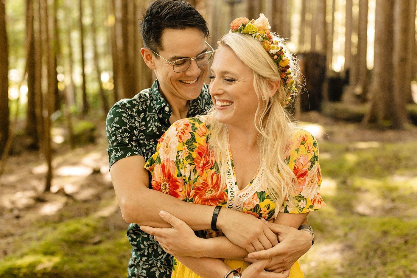 Engagement session outfit ideas yellow green flower crown