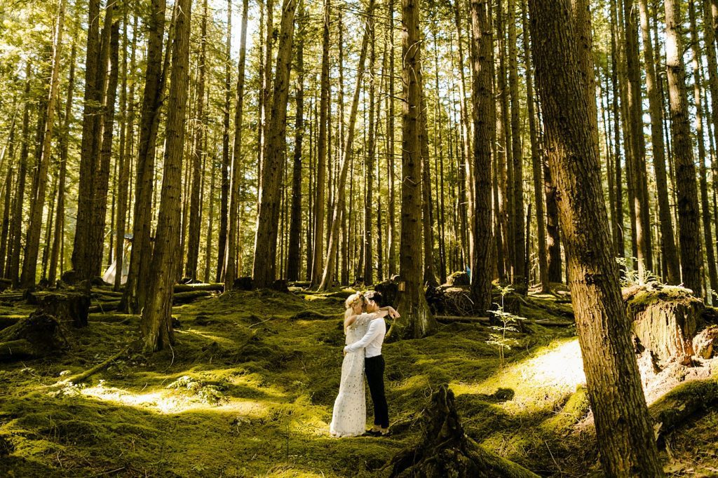 Elopement wedding photographer forest location