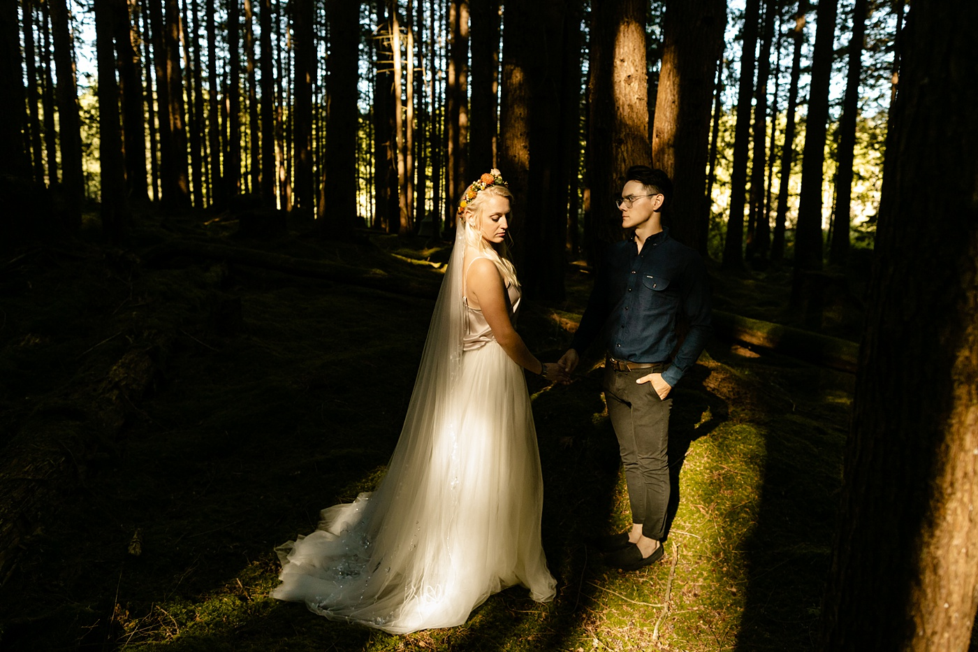 Unique use of natural harsh sunlight elopement photographer