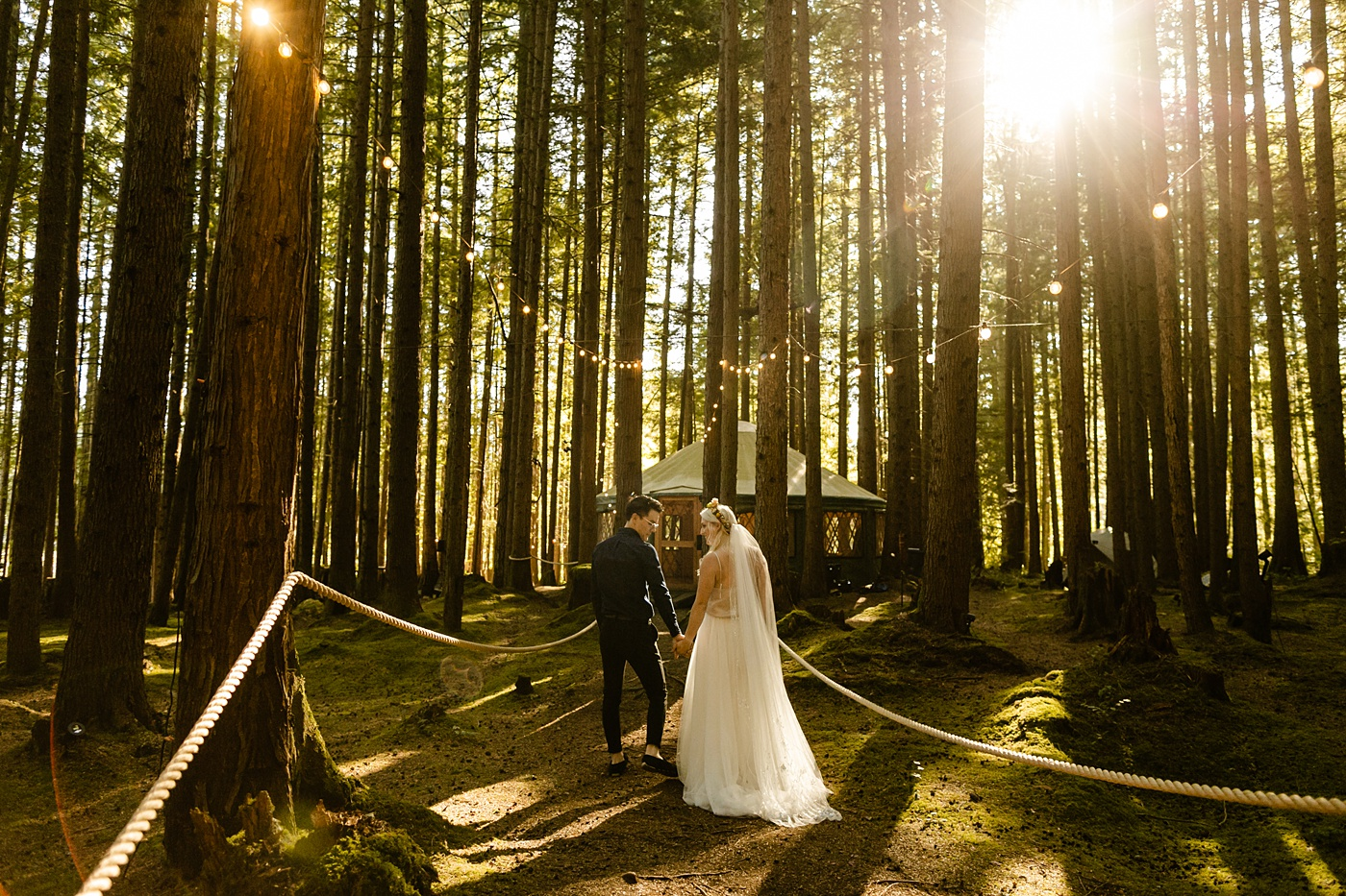 twinkle lights Emerald Forest Engagement Photographer Treehouse Wedding Venue PNW