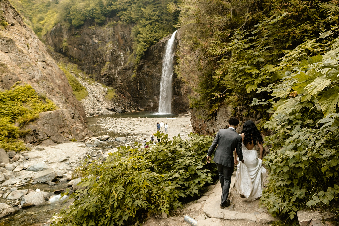 secluded waterfall wedding PNW