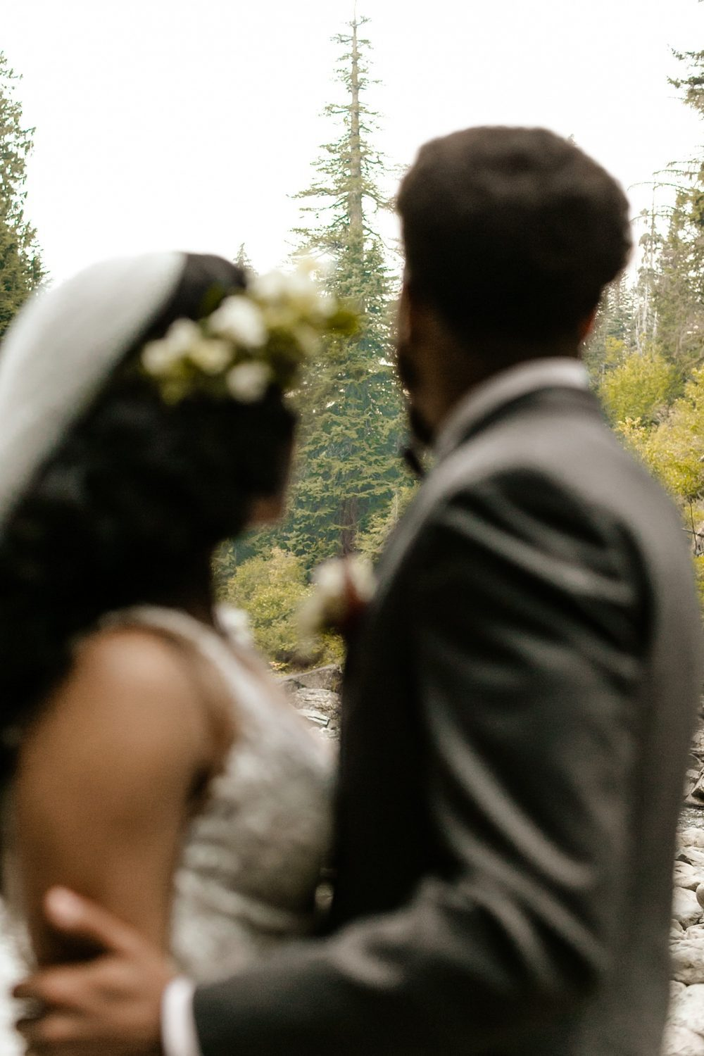 PNW elopement locations woods waterfall