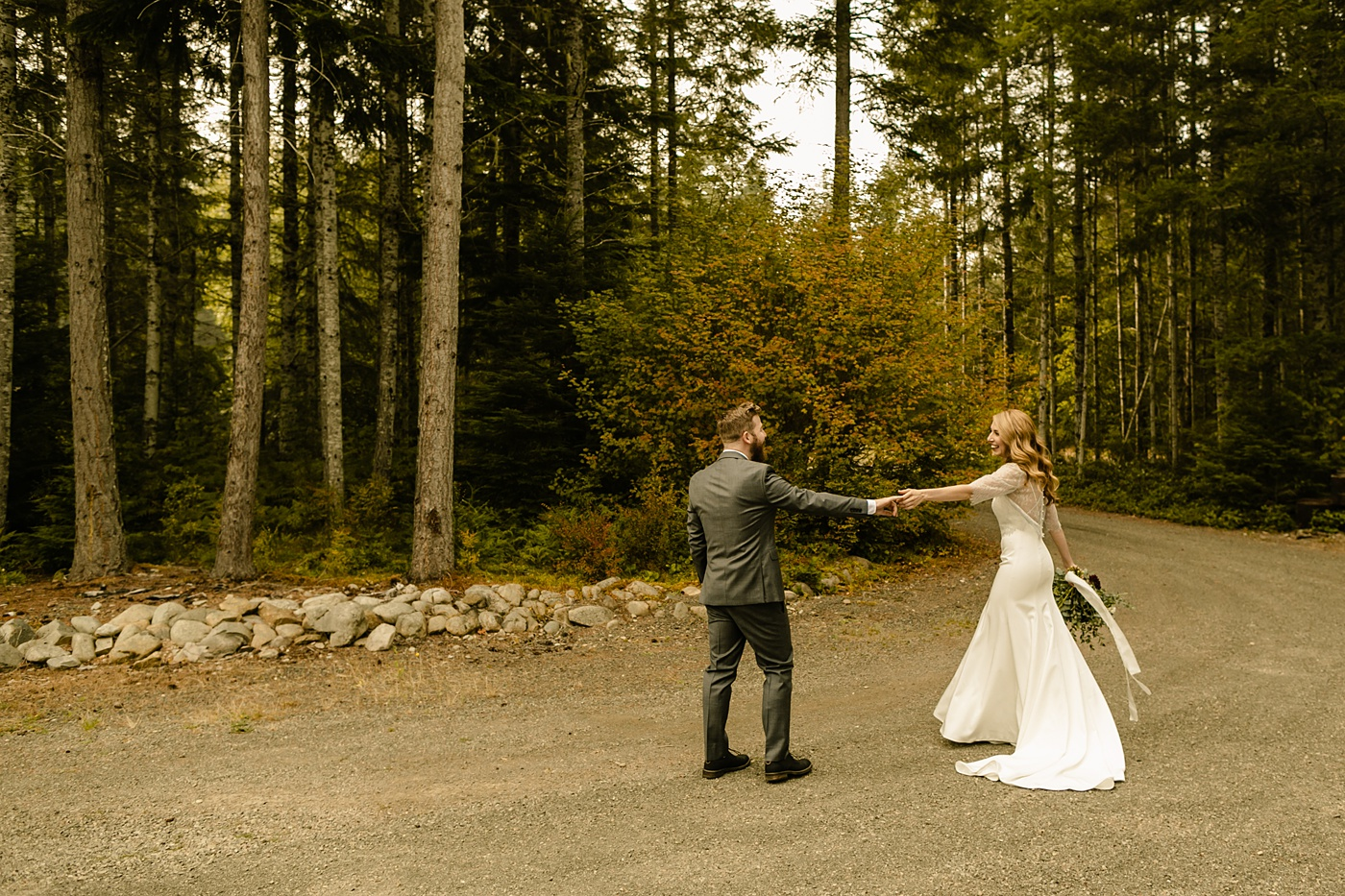 candid wedding photographer elopement in the mountains