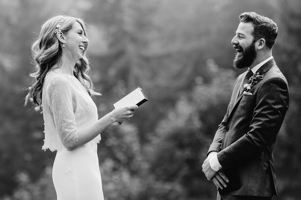 bride reading personal vows to groom elopement ceremony