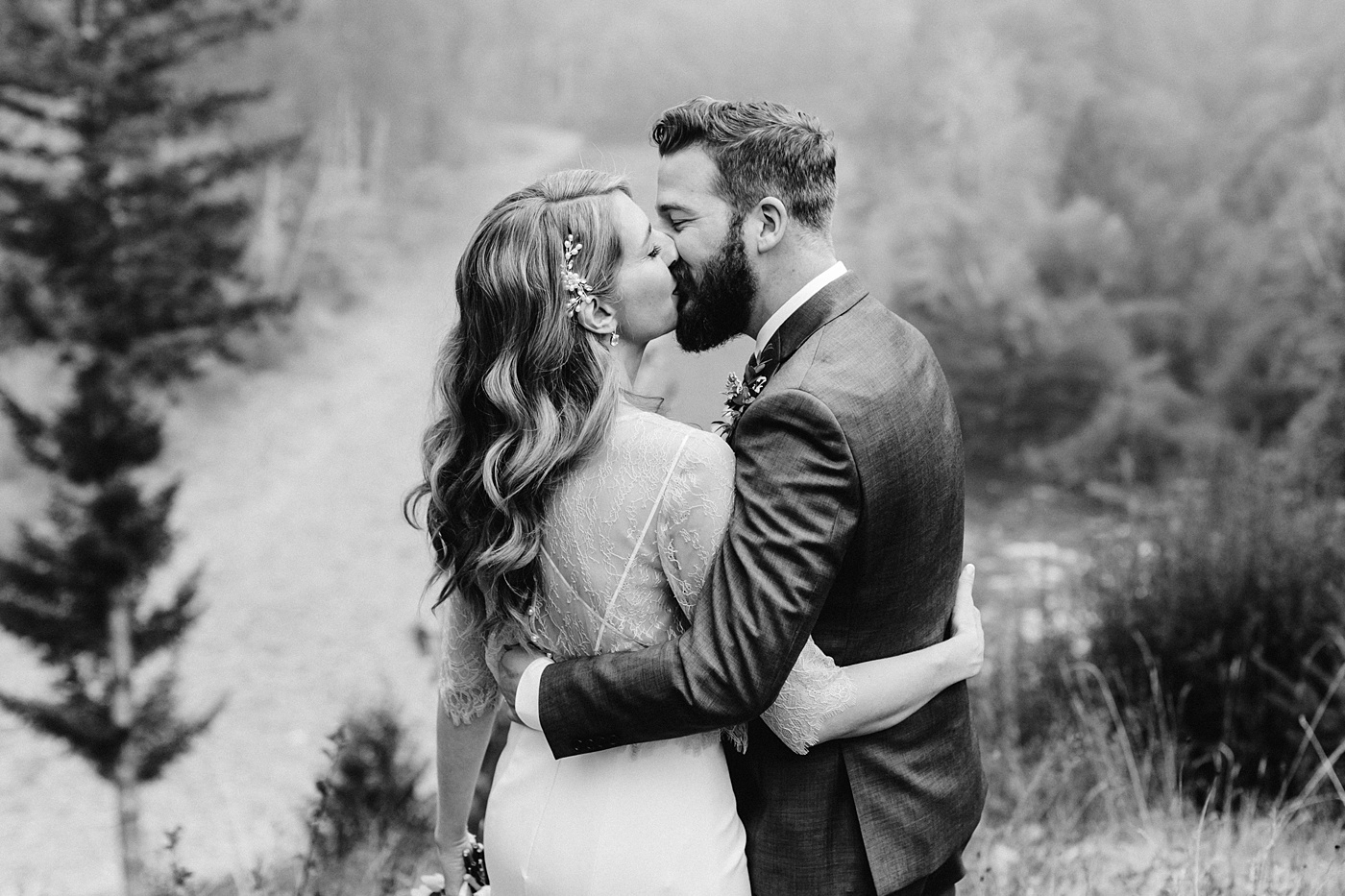bride and groom pose ideas arms around each other kiss Seattle's Best Airbnb's for Elopements photographer