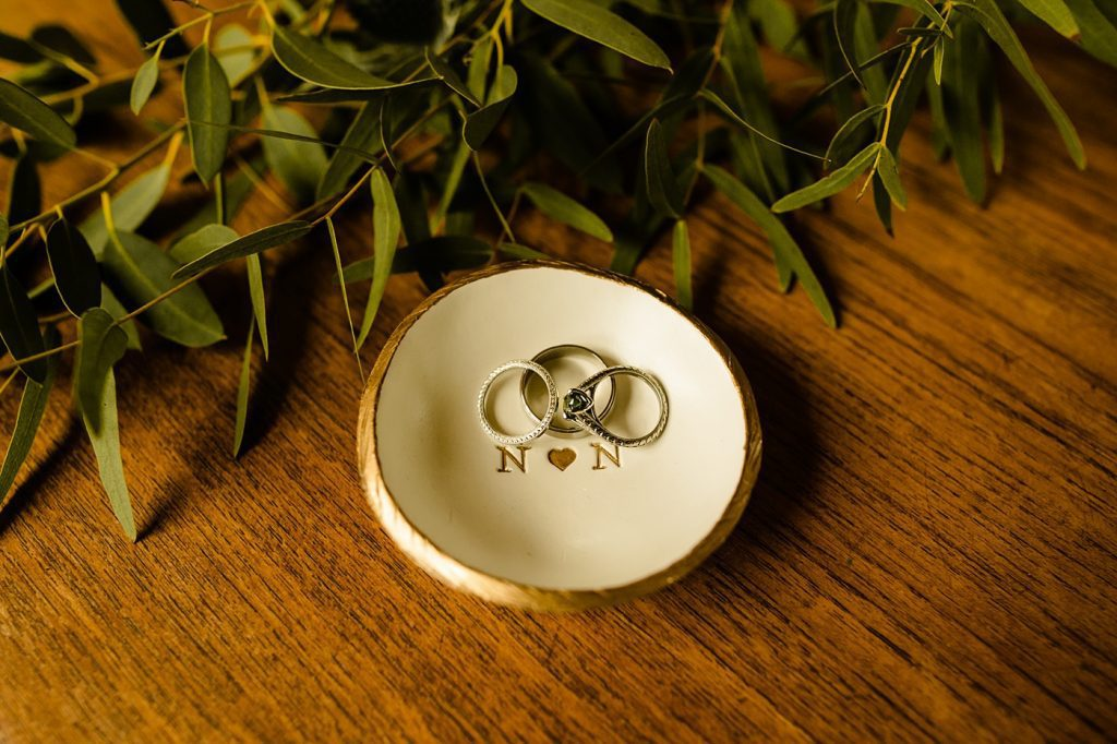 custom ring dish detail photo with thistles