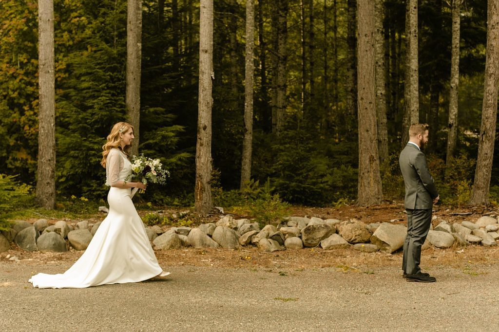 first look bride groom mountains elopement