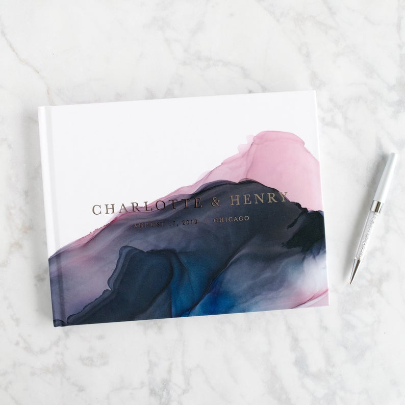 watercolor unique guest book ideas for your wedding